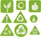 ECOLOGY AND ENVIRONMENT STICKERS Royalty Free Stock Photo