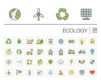 Ecology and environmental color vector icons Stock Image