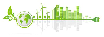 Ecology and Environmental Concept,Earth Symbol With Green Leaves Around Cities Help The World With Eco-Friendly Ideas royalty free illustration