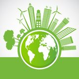 Ecology and Environmental Concept,Earth Symbol With Green Leaves Around Cities Help The World With Eco-Friendly Ideas,Vector vector illustration