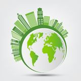 Ecology and Environmental Concept,Earth Symbol With Green Leaves Around Cities Help The World With Eco-Friendly Ideas,Vector stock illustration