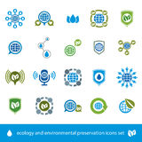 Ecology and environmental conservation vector icons set, unusual Royalty Free Stock Image