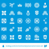 Ecology and environmental conservation vector icons set, unusual Royalty Free Stock Photo