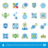Ecology and environmental conservation vector icons set, unusual Royalty Free Stock Photos