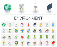 Ecology and environmental isometric icons. 3d vector Royalty Free Stock Images