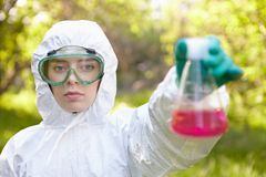 Ecology and environmental pollution. Water testing. Stock Photography