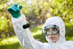 Ecology and environmental pollution. Water testing royalty free stock photo