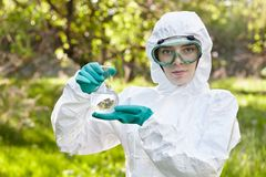 Ecology and environmental pollution. Water testing. Royalty Free Stock Image