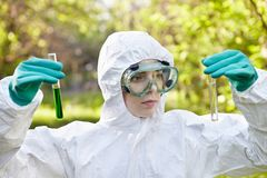 Ecology and environmental pollution. Water testing. Royalty Free Stock Photography