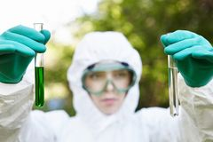 Ecology and environmental pollution. Water testing. Stock Image