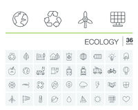 Ecology and environmental vector icons Royalty Free Stock Photo
