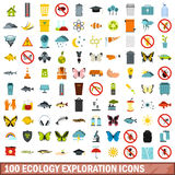 100 ecology exploration icons set, flat style. 100 ecology exploration icons set in flat style for any design vector illustration Royalty Free Stock Photo