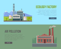 Ecology Factory and Air Pollution Banners Royalty Free Stock Photo