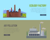 Ecology Factory and Air Pollution Plant Banners. Stock Images