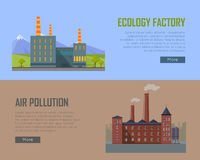 Ecology Factory and Air Pollution Plant Banners. Royalty Free Stock Photos