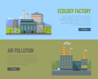 Ecology Factory and Air Pollution Plant Banners. Stock Photos