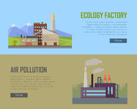 Ecology Factory and Air Pollution Plant Banners. Royalty Free Stock Photography