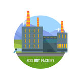 Ecology Factory. Eco Plant Icon in Flat Style. Stock Image