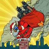 Ecology factory pipe, dirty air face mask. Santa Claus with gift vector illustration