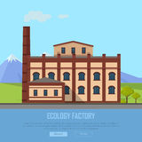 Ecology Factory Web Banner. Eco Manufacturing Royalty Free Stock Photography