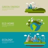 Ecology Flat Banner Set. Three horizontal ecology flat banner set with titles green energy eco home and ecology vector illustration Royalty Free Stock Images