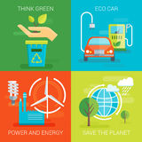 Ecology Flat Compositions. With think green eco car save planet safe power and energy  vector illustration Royalty Free Stock Images