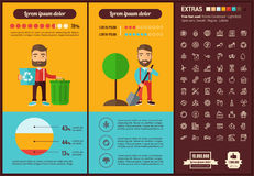 Ecology flat design Infographic Template Royalty Free Stock Images