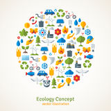 Ecology flat icons arranged in circle. Vector. Illustration. Hand with sprout, hand with water drop. Solar energy sign, wind energy sign, wild animals. Save the Royalty Free Stock Photography