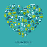 Ecology flat icons arranged in heart. Vector. Illustration. Hand with sprout, hand with water drop. Solar energy sign, wind energy sign, wild animals. Save the Royalty Free Stock Photos