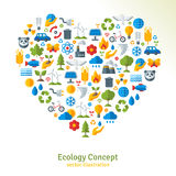 Ecology flat icons arranged in heart. Vector stock illustration