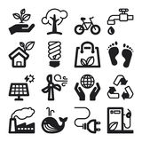 Ecology flat icons. Black Stock Images