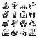 Ecology flat icons. Black Stock Images