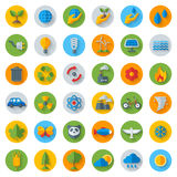 Ecology Flat Icons on Circles with Shadow. Set. On White. Vector illustration. Hand with sprout, hand with water drop. Solar energy sign, wind energy sign Stock Image