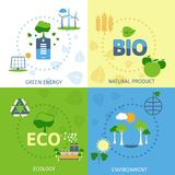 Ecology 4 flat icons composition Stock Photo