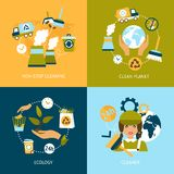 Ecology flat icons set Royalty Free Stock Photos