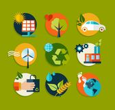 Ecology flat icons set Royalty Free Stock Photography