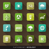 Ecology Flat Icons Set. Set of Green Ecology Flat Icons with long shadow Royalty Free Stock Photo