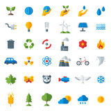 Ecology flat icons set isolated on white. Vector illustration. Hand with sprout, hand with water drop. Solar energy sign, wind energy sign, wild animals. Save Royalty Free Stock Photography