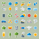 Ecology Flat Icons Stickers Set Royalty Free Stock Photo