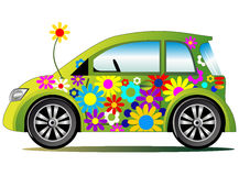 Ecology flower power car Stock Photography