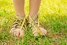 Ecology footwear concept. Royalty Free Stock Images