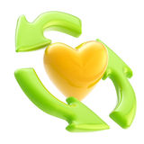 Ecology friendly: recycle arrows and heart symbol. Ecology friendly: green glossy recycle arrows rotating around the heart symbol stock illustration