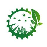 Ecology gear.Green cities help the world with eco-friendly concept ideas. royalty free illustration