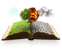 Ecology global warming concept. Landscape screen saver. Opened book with half burning tree and desert Royalty Free Stock Images