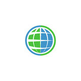 Ecology globe logo, green technology graphic sing, idea natural tech symbol Royalty Free Stock Photography