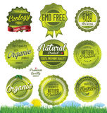 Ecology GMO free labels Stock Photos