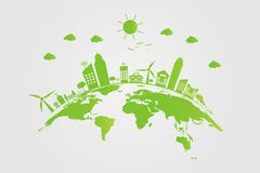 Ecology.Green cities help the world with eco-friendly concept ideas.vector illustration royalty free illustration