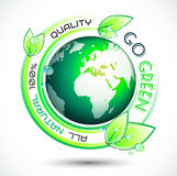 Ecology Green conceptual background with green related slogan Stock Photos