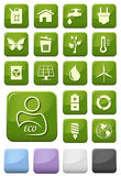 Ecology and green environment buttons set Stock Images