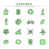 Ecology green fill icons set. Modern line and color spot style icons, perfect for your branding, web, print or infographic design project Stock Image